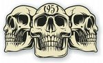 Vintage Biker 3 Gothic Skulls Year Dated Skull 1951 Cafe Racer Helmet Vinyl Car Sticker 120x70mm